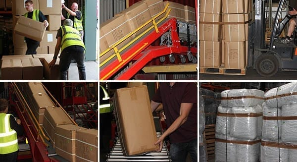 Warehouse team unloading a container