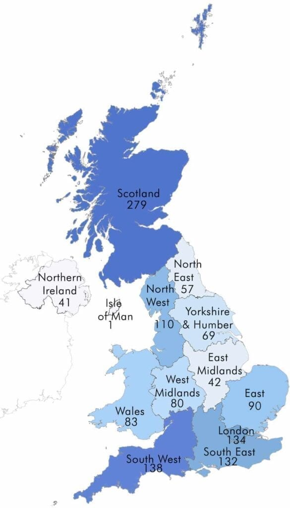 How many hospitals are there in the UK
