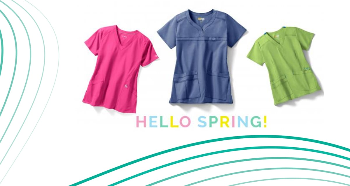 Add a pop of colour to your scrubs uniform this spring