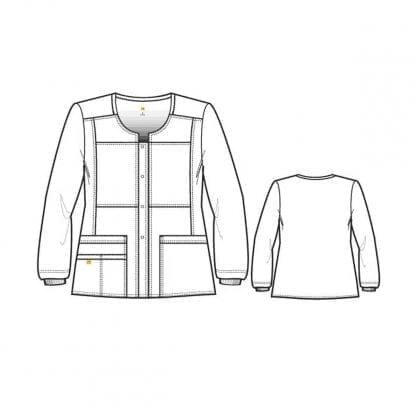 Four Stretch Women's Sporty Button Front Jacket WW8114 Style Outline